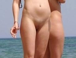 Spy on nude girl on beach - series of shots