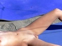 Nudist girl on beach photos